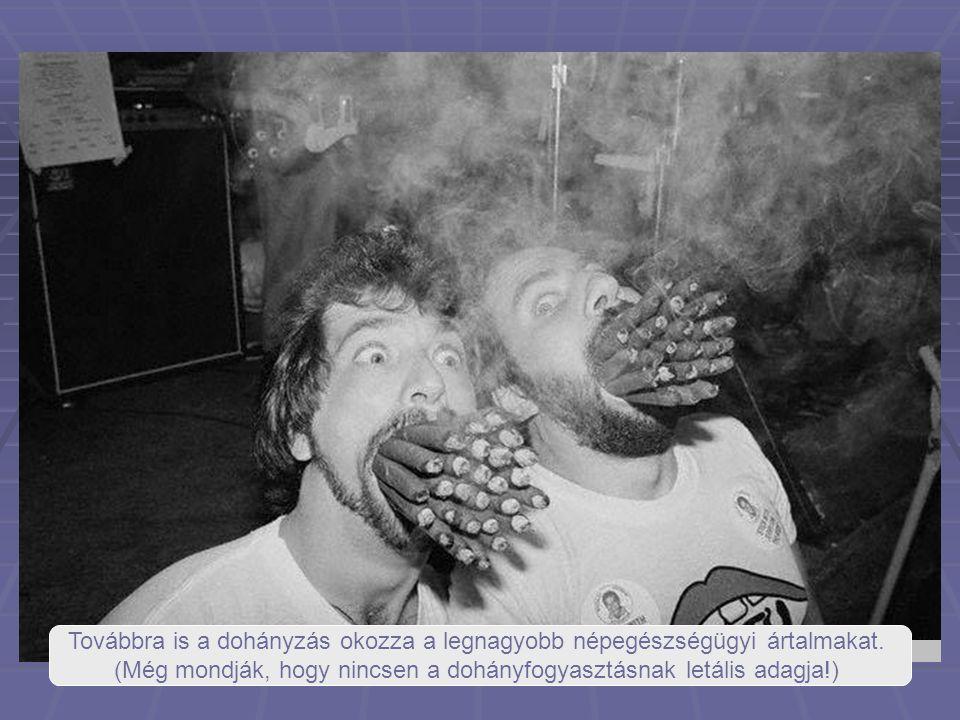 Továbbra is a dohányzás okozza a legnagyobb népegészségügyi ártalmakat. (Még mondják, hogy nincsen a dohányfogyasztásnak letális adagja!)