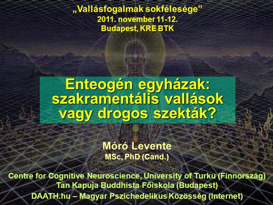 """""""Vallásfogalmak sokfélesége"""" 2011. november 11-12. Budapest, KRE BTK Enteogén egyházak: szakramentális vallások vagy drogos szekták? Móró Levente MSc,"""