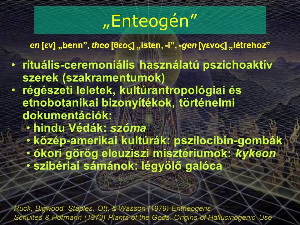 """Ruck, Bigwood, Staples, Ott, & Wasson (1979) Entheogens Schultes & Hofmann (1979) Plants of the Gods: Origins of Hallucinogenic Use """"Enteogén en [εν] """"benn , theo [θεος] """"isten, -i , -gen [γενος] """"létrehoz rituális-ceremoniális használatú pszichoaktív szerek (szakramentumok) régészeti leletek, kultúrantropológiai és etnobotanikai bizonyítékok, történelmi dokumentációk: hindu Védák: szóma közép-amerikai kultúrák: pszilocibin-gombák ókori görög eleuziszi misztériumok: kykeon szibériai sámánok: légyölő galóca"""