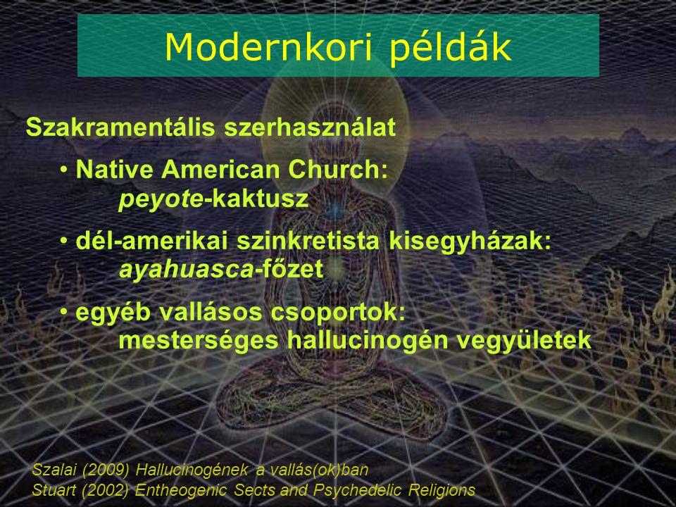 Szalai (2009) Hallucinogének a vallás(ok)ban Stuart (2002) Entheogenic Sects and Psychedelic Religions Modernkori példák Szakramentális szerhasználat Native American Church: peyote-kaktusz dél-amerikai szinkretista kisegyházak: ayahuasca-főzet egyéb vallásos csoportok: mesterséges hallucinogén vegyületek