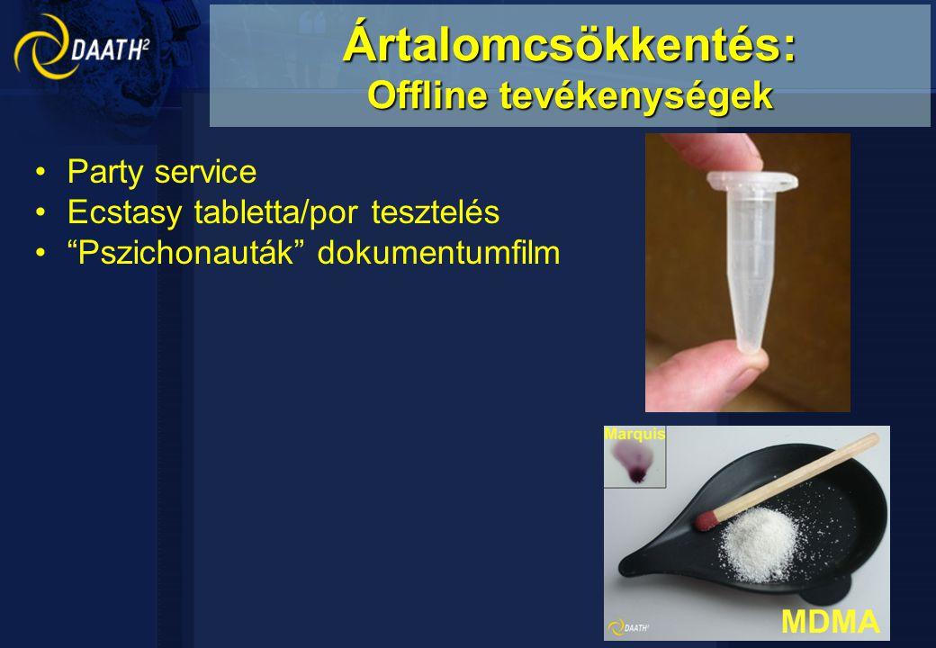 """Party service Ecstasy tabletta/por tesztelés """"Pszichonauták"""" dokumentumfilm Ártalomcsökkentés: Offline tevékenységek"""