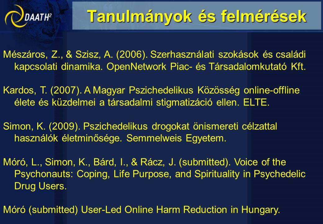 Mészáros, Z., & Szisz, A. (2006). Szerhasználati szokások és családi kapcsolati dinamika. OpenNetwork Piac- és Társadalomkutató Kft. Kardos, T. (2007)