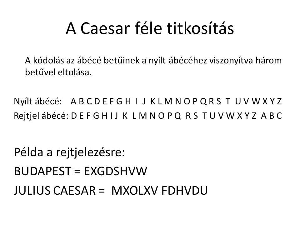 A Caesar féle titkosítás A kódolás az ábécé betűinek a nyílt ábécéhez viszonyítva három betűvel eltolása. Nyílt ábécé: A B C D E F G H I J K L M N O P