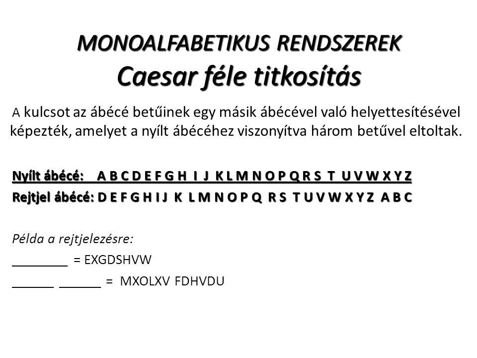 MONOALFABETIKUS RENDSZEREK Caesar féle titkosítás A kulcsot az ábécé betűinek egy másik ábécével való helyettesítésével képezték, amelyet a nyílt ábéc