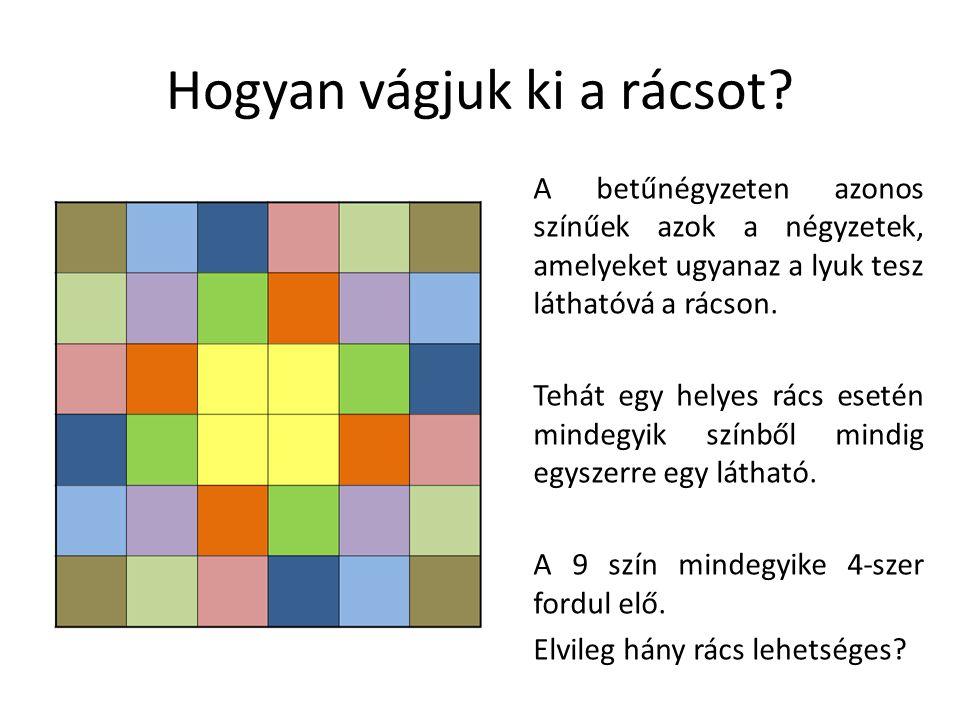 Hogyan vágjuk ki a rácsot? A betűnégyzeten azonos színűek azok a négyzetek, amelyeket ugyanaz a lyuk tesz láthatóvá a rácson. Tehát egy helyes rács es