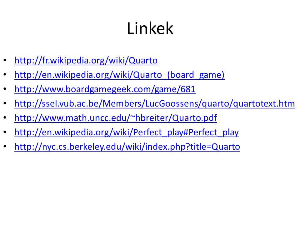 Linkek http://fr.wikipedia.org/wiki/Quarto http://en.wikipedia.org/wiki/Quarto_(board_game) http://www.boardgamegeek.com/game/681 http://ssel.vub.ac.b