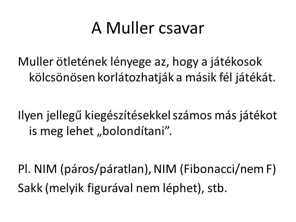 A Muller csavar Muller ötletének lényege az, hogy a játékosok kölcsönösen korlátozhatják a másik fél játékát. Ilyen jellegű kiegészítésekkel számos má