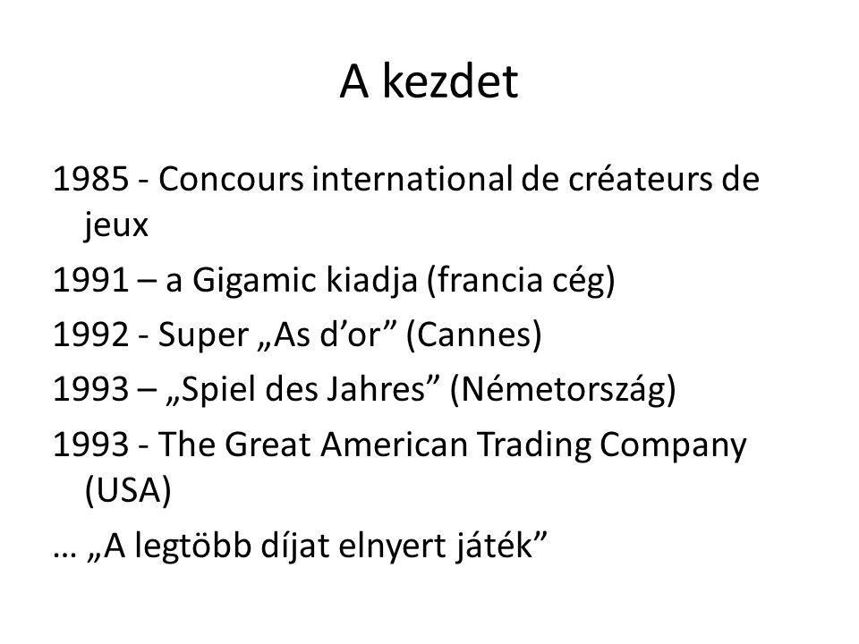 """A kezdet 1985 - Concours international de créateurs de jeux 1991 – a Gigamic kiadja (francia cég) 1992 - Super """"As d'or"""" (Cannes) 1993 – """"Spiel des Ja"""