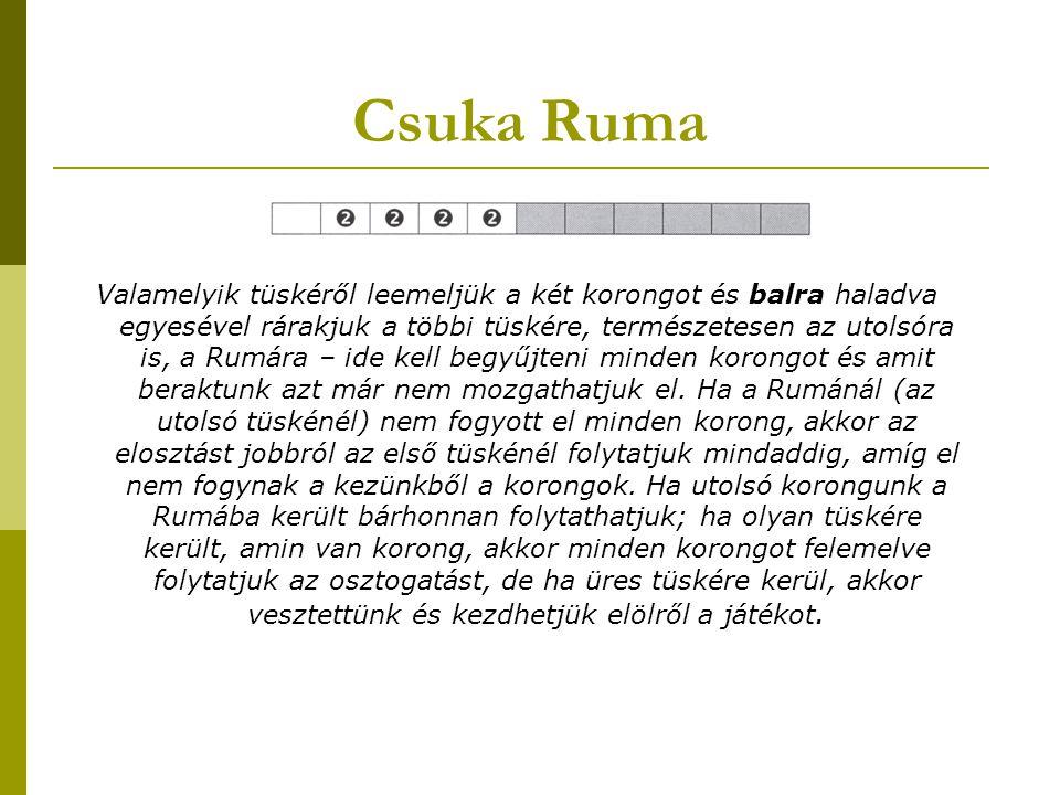 Csuka Ruma Valamelyik tüskéről leemeljük a két korongot és balra haladva egyesével rárakjuk a többi tüskére, természetesen az utolsóra is, a Rumára –
