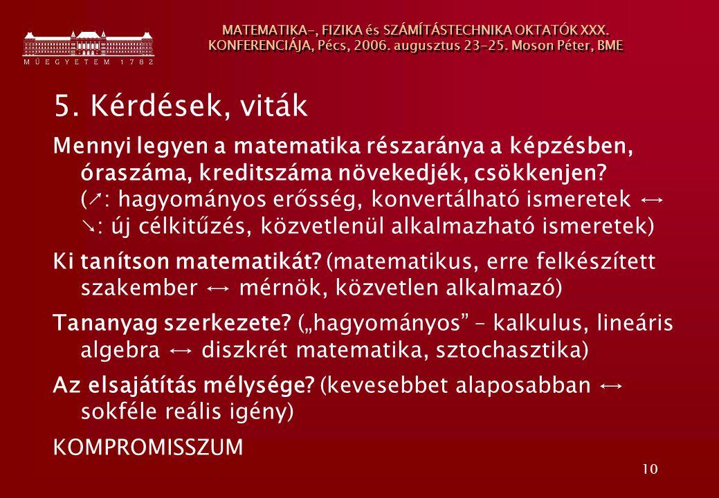 10 MATEMATIKA-, FIZIKA és SZÁMÍTÁSTECHNIKA OKTATÓK XXX. KONFERENCIÁJA, Pécs, 2006. augusztus 23-25. Moson Péter, BME 5. Kérdések, viták Mennyi legyen