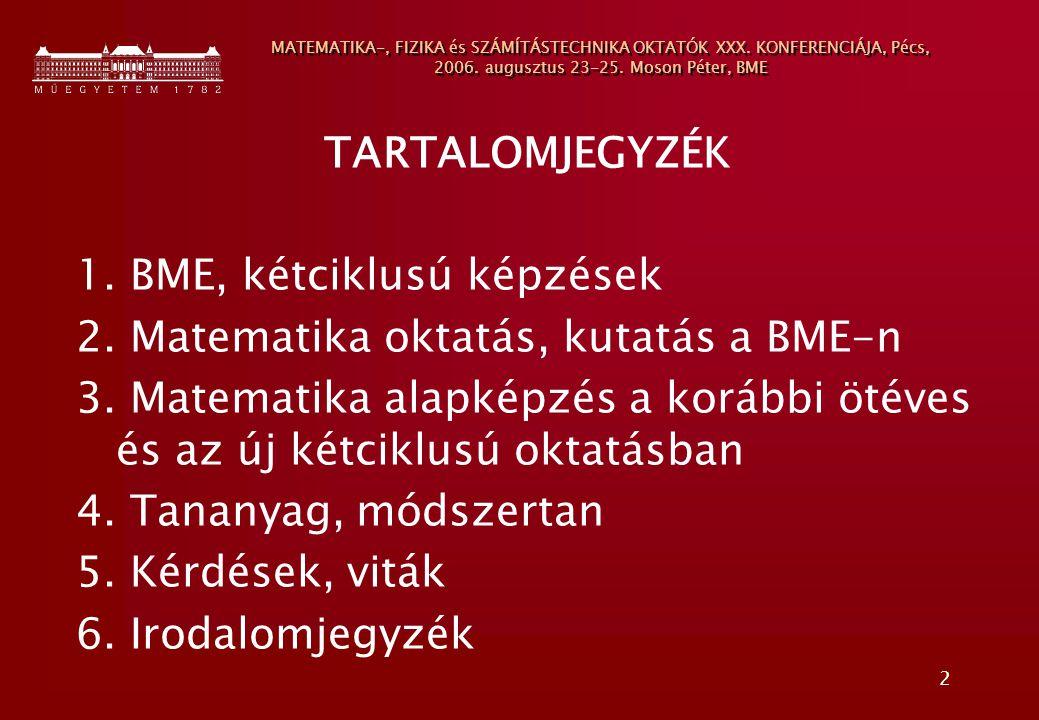 2 MATEMATIKA-, FIZIKA és SZÁMÍTÁSTECHNIKA OKTATÓK XXX. KONFERENCIÁJA, Pécs, 2006. augusztus 23-25. Moson Péter, BME TARTALOMJEGYZÉK 1. BME, kétciklusú