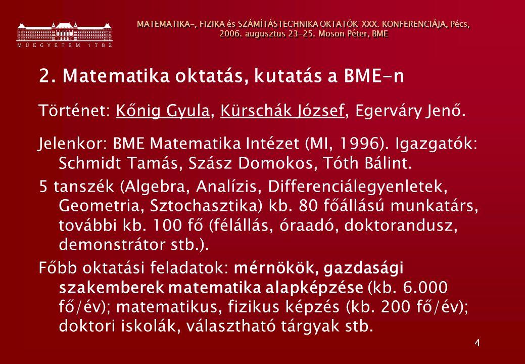 4 MATEMATIKA-, FIZIKA és SZÁMÍTÁSTECHNIKA OKTATÓK XXX. KONFERENCIÁJA, Pécs, 2006. augusztus 23-25. Moson Péter, BME 2. Matematika oktatás, kutatás a B