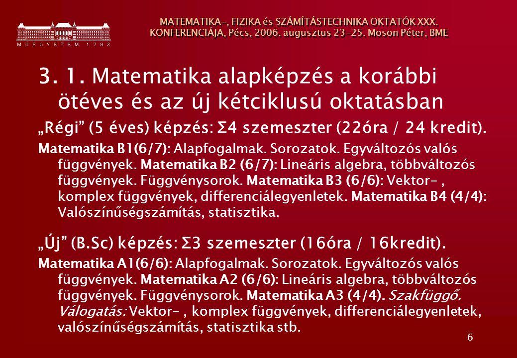 6 MATEMATIKA-, FIZIKA és SZÁMÍTÁSTECHNIKA OKTATÓK XXX. KONFERENCIÁJA, Pécs, 2006. augusztus 23-25. Moson Péter, BME 3. 1. Matematika alapképzés a korá
