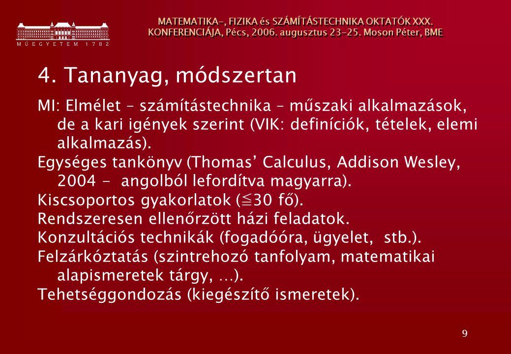 9 MATEMATIKA-, FIZIKA és SZÁMÍTÁSTECHNIKA OKTATÓK XXX. KONFERENCIÁJA, Pécs, 2006. augusztus 23-25. Moson Péter, BME 4. Tananyag, módszertan MI: Elméle