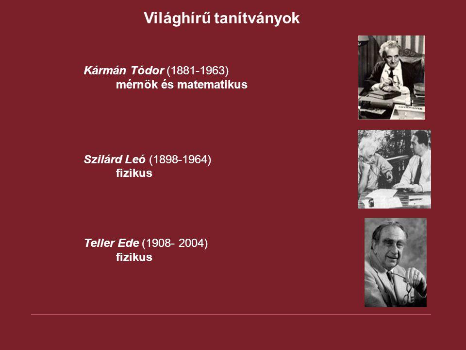 Világhírű tanítványok Bánki Donát (1859 - 1922) A karburátor feltalálója Zipernowsky Károly (1853-1942) A transzformátor egyik kifejlesztője Rubik Ernő (sz: 1944) Építész, logikai játékok tervezője