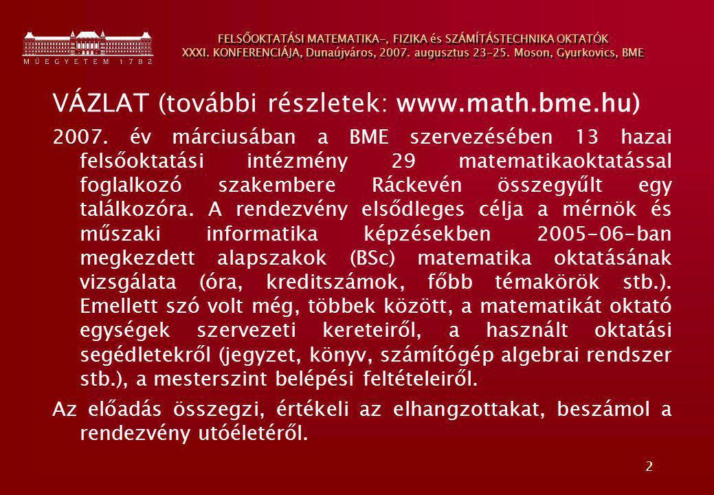 2 FELSŐOKTATÁSI MATEMATIKA-, FIZIKA és SZÁMÍTÁSTECHNIKA OKTATÓK XXXI. KONFERENCIÁJA, Dunaújváros, 2007. augusztus 23-25. Moson, Gyurkovics, BME VÁZLAT