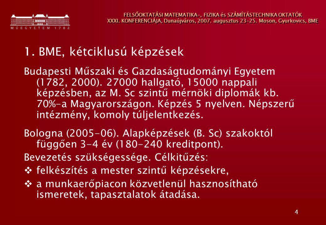 4 FELSŐOKTATÁSI MATEMATIKA-, FIZIKA és SZÁMÍTÁSTECHNIKA OKTATÓK XXXI. KONFERENCIÁJA, Dunaújváros, 2007. augusztus 23-25. Moson, Gyurkovics, BME 1. BME
