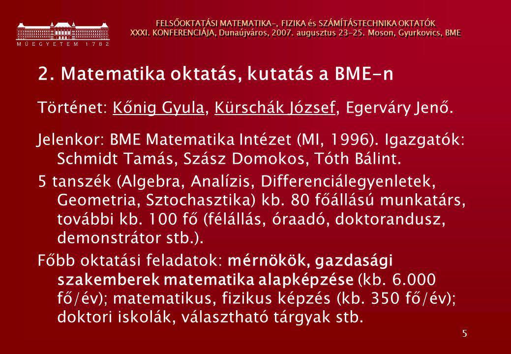 5 FELSŐOKTATÁSI MATEMATIKA-, FIZIKA és SZÁMÍTÁSTECHNIKA OKTATÓK XXXI. KONFERENCIÁJA, Dunaújváros, 2007. augusztus 23-25. Moson, Gyurkovics, BME 2. Mat