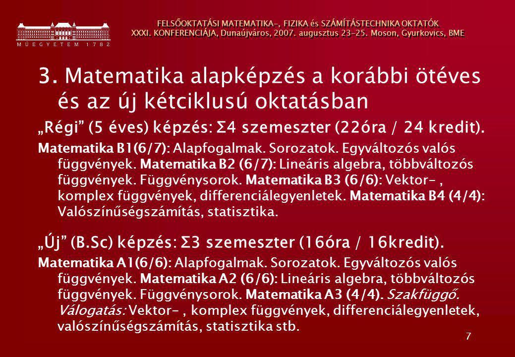 7 FELSŐOKTATÁSI MATEMATIKA-, FIZIKA és SZÁMÍTÁSTECHNIKA OKTATÓK XXXI. KONFERENCIÁJA, Dunaújváros, 2007. augusztus 23-25. Moson, Gyurkovics, BME 3. Mat