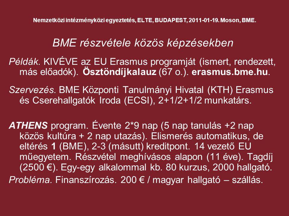 Nemzetközi intézményközi egyeztetés, ELTE, BUDAPEST, 2011-01-19.