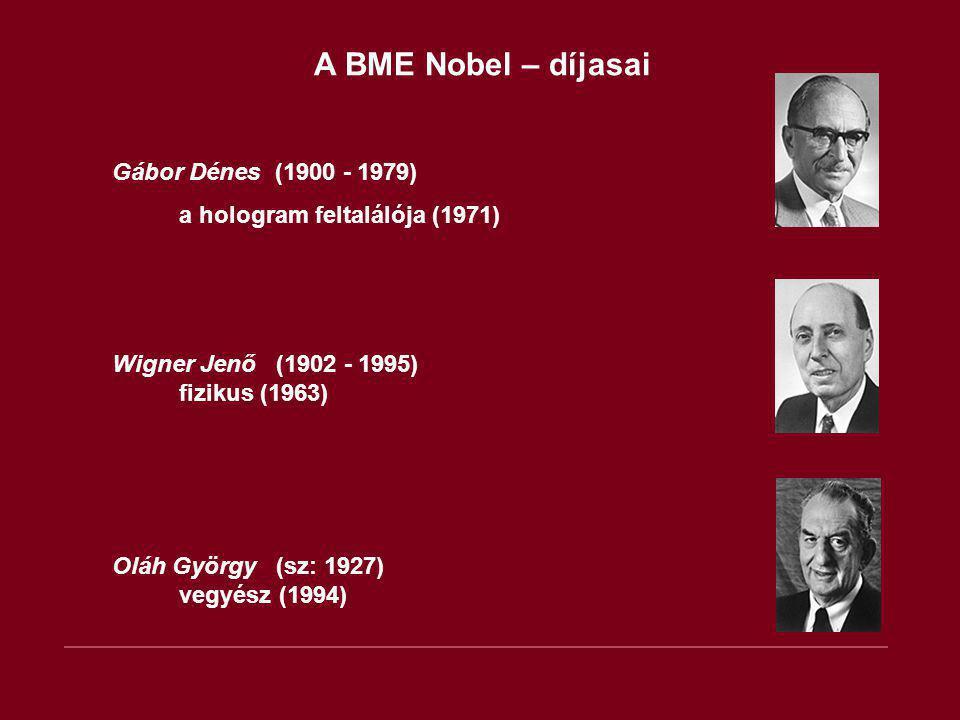 A BME Nobel – díjasai Gábor Dénes (1900 - 1979) a hologram feltalálója (1971) Wigner Jenő (1902 - 1995) fizikus (1963) Oláh György (sz: 1927) vegyész