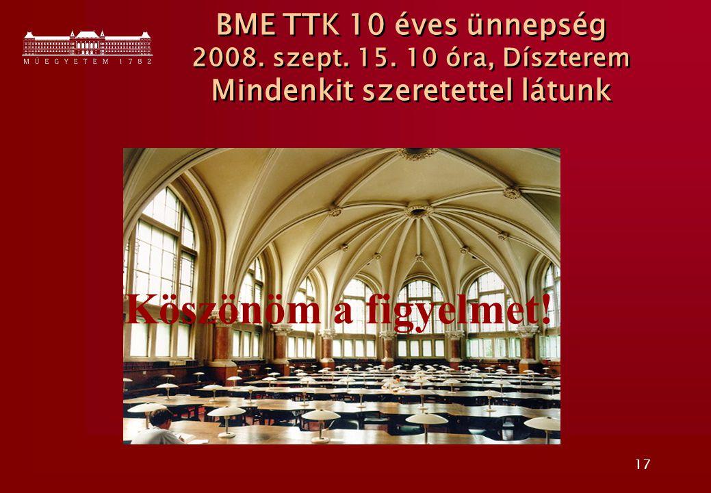 17 BME TTK 10 éves ünnepség 2008. szept. 15. 10 óra, Díszterem Mindenkit szeretettel látunk Köszönöm a figyelmet!