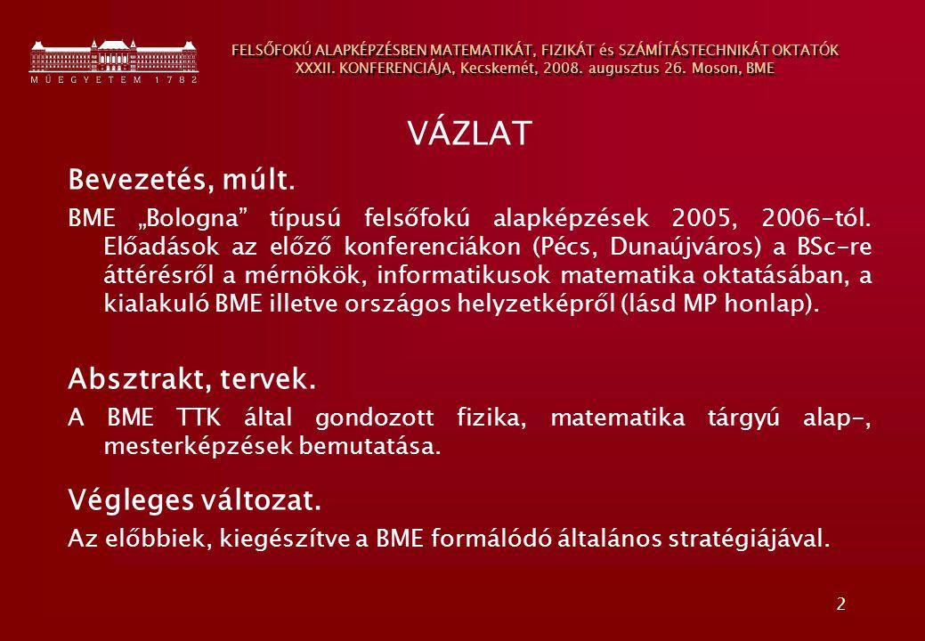 2 FELSŐFOKÚ ALAPKÉPZÉSBEN MATEMATIKÁT, FIZIKÁT és SZÁMÍTÁSTECHNIKÁT OKTATÓK XXXII. KONFERENCIÁJA, Kecskemét, 2008. augusztus 26. Moson, BME VÁZLAT Bev