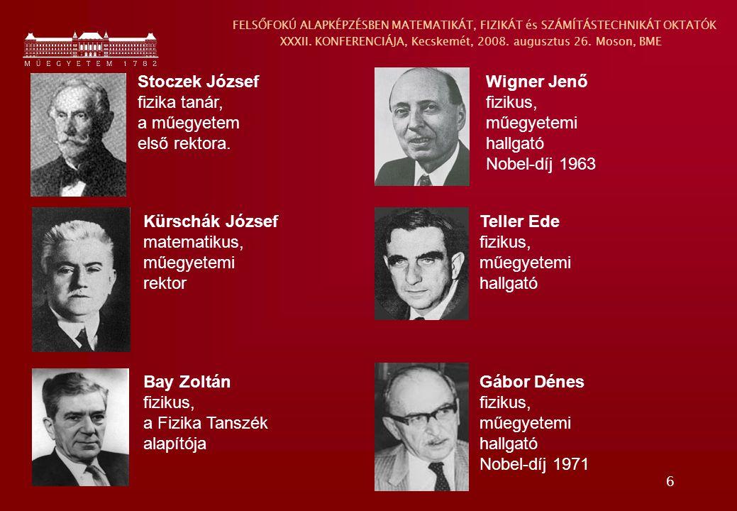 6 Stoczek József fizika tanár, a műegyetem első rektora. Kürschák József matematikus, műegyetemi rektor Bay Zoltán fizikus, a Fizika Tanszék alapítója