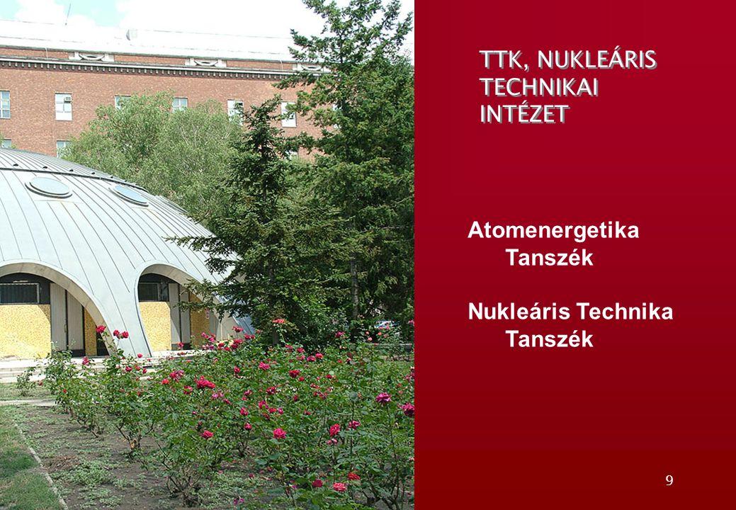 9 TTK, NUKLEÁRIS TECHNIKAI INTÉZET Atomenergetika Tanszék Nukleáris Technika Tanszék