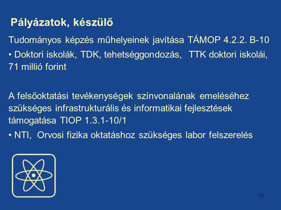 11 Pályázatok, készülő Tudományos képzés műhelyeinek javítása TÁMOP 4.2.2.