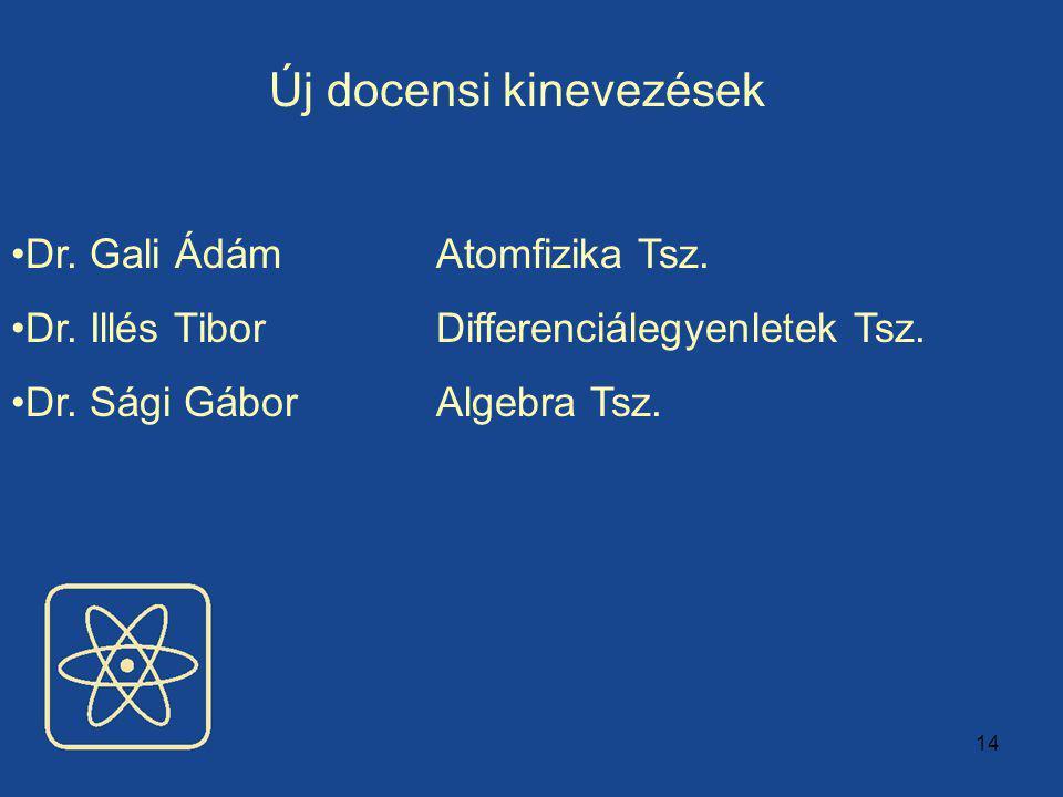14 Új docensi kinevezések Dr.Gali Ádám Atomfizika Tsz.