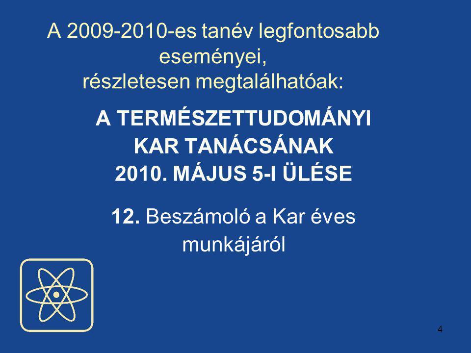 4 A 2009-2010-es tanév legfontosabb eseményei, részletesen megtalálhatóak: A TERMÉSZETTUDOMÁNYI KAR TANÁCSÁNAK 2010.