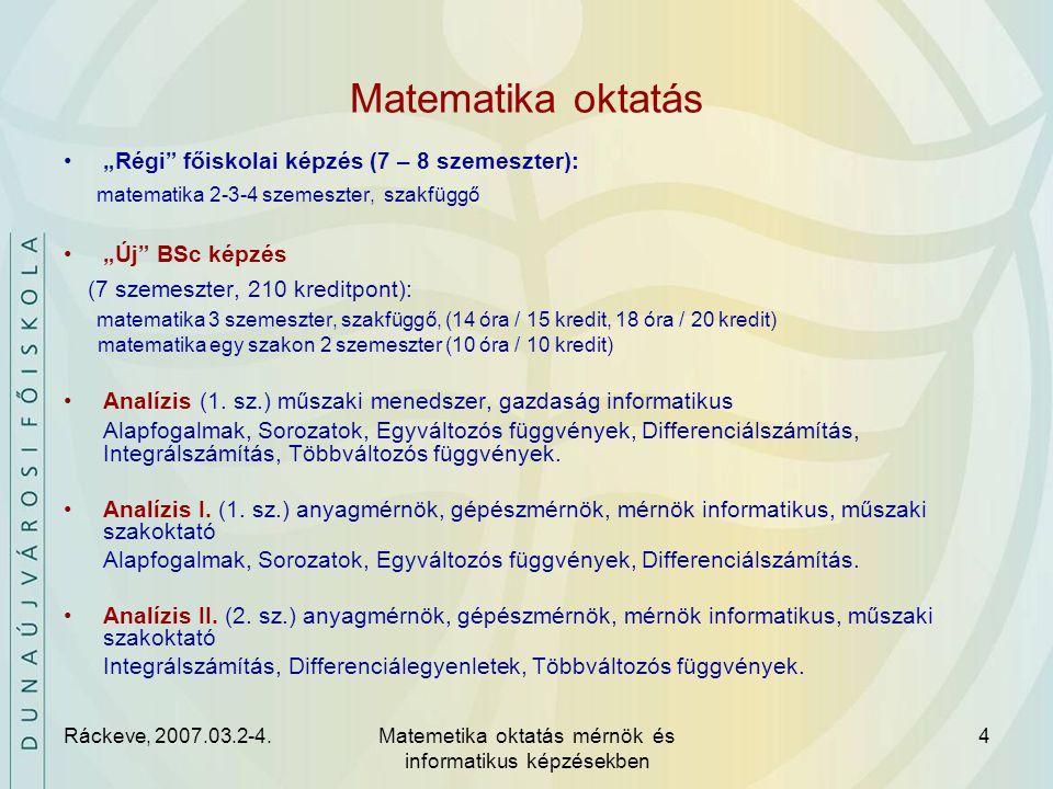 Ráckeve, 2007.03.2-4.Matemetika oktatás mérnök és informatikus képzésekben 5 Matematika oktatás Műszaki matematika (2.
