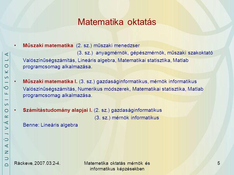 Ráckeve, 2007.03.2-4.Matemetika oktatás mérnök és informatikus képzésekben 6 Tananyag, módszertan Elmélet, táblás gyakorlat, PC labor gyakorlat Az alapképzési szakok igényei szerint (definíciók, tételek, elemi alkalmazások).