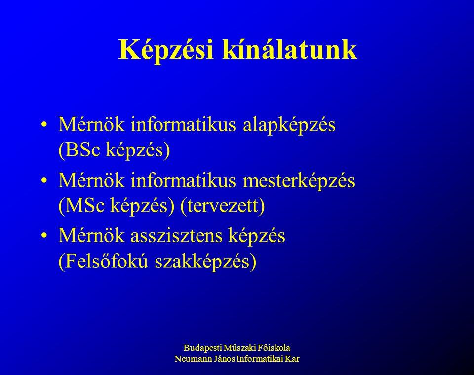 Budapesti Műszaki Főiskola Neumann János Informatikai Kar Képzési kínálatunk Mérnök informatikus alapképzés (BSc képzés) Mérnök informatikus mesterkép