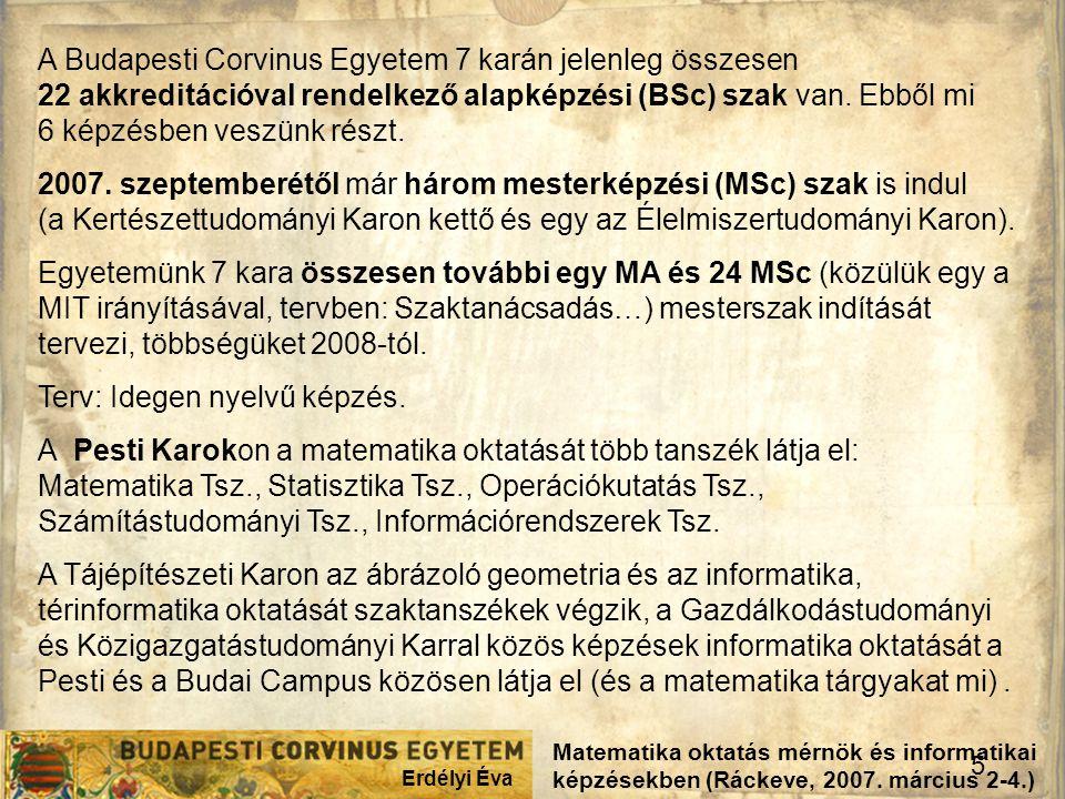 Erdélyi Éva 5 Matematika oktatás mérnök és informatikai képzésekben (Ráckeve, 2007. március 2-4.) A Budapesti Corvinus Egyetem 7 karán jelenleg összes
