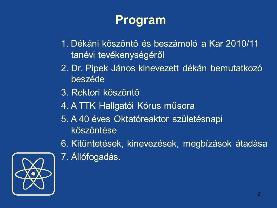 2 Program 1. Dékáni köszöntő és beszámoló a Kar 2010/11 tanévi tevékenységéről 2. Dr. Pipek János kinevezett dékán bemutatkozó beszéde 3. Rektori kösz