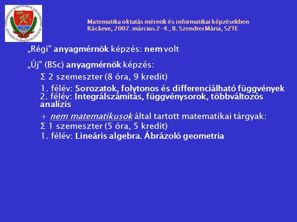 """Matematika oktatás mérnök és informatikai képzésekben Ráckeve, 2007. március 2-4.; B. Szendrei Mária, SZTE """"Régi"""" anyagmérnök képzés: nem volt """"Új"""" (B"""