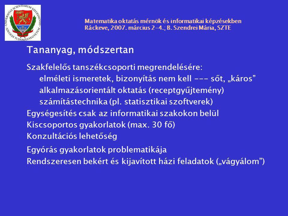 Matematika oktatás mérnök és informatikai képzésekben Ráckeve, 2007. március 2-4.; B. Szendrei Mária, SZTE Tananyag, módszertan Szakfelelős tanszékcso