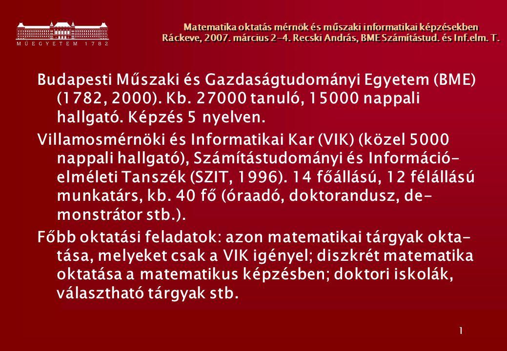 2 Matematika oktatás mérnök és műszaki informatikai képzésekben Ráckeve, 2007.