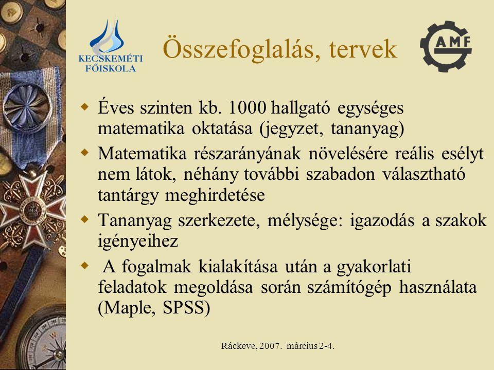 Ráckeve, 2007. március 2-4. Összefoglalás, tervek  Éves szinten kb. 1000 hallgató egységes matematika oktatása (jegyzet, tananyag)  Matematika résza