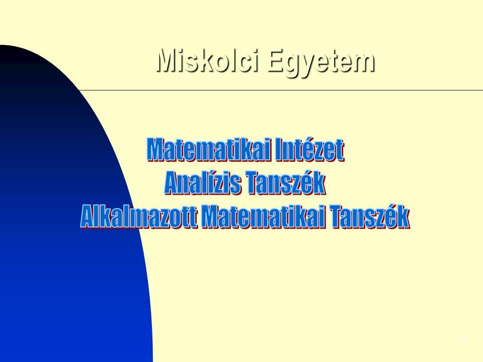2 Matematikai Intézet 1975-1987 – Analízis Tsz., Számítástechnika Tsz., Számítóközpont 1988-2006 – Analízis Tsz., Alkalmazott Matematikai Tsz.