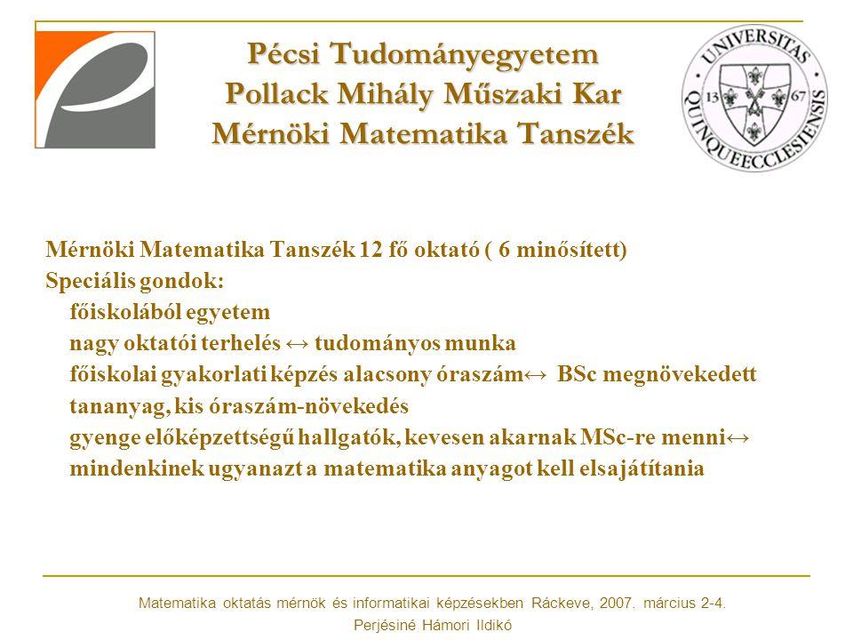 Pécsi Tudományegyetem Pollack Mihály Műszaki Kar Mérnöki Matematika Tanszék Mérnöki Matematika Tanszék 12 fő oktató ( 6 minősített) Speciális gondok: