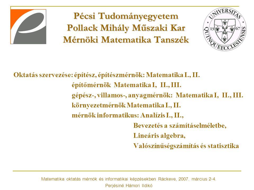 Pécsi Tudományegyetem Pollack Mihály Műszaki Kar Mérnöki Matematika Tanszék Oktatási módszerek: Felzárkóztatás: http://matserv.pmmf.hu/matalapok http://matserv.pmmf.hu/matalapok Honlapon felzárkóztató tesztek, ezekből teszt szeptemberben Tananyagok (ppt és pdf formátumban), követelmények, próbazh-k, zh eredmények, fórum a tanszék e-learning felületén.