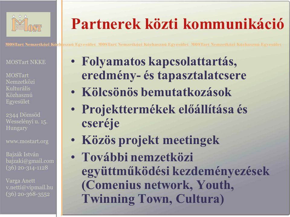 Partnerek közti kommunikáció Folyamatos kapcsolattartás, eredmény- és tapasztalatcsere Kölcsönös bemutatkozások Projekttermékek előállítása és cseréje Közös projekt meetingek További nemzetközi együttműködési kezdeményezések (Comenius network, Youth, Twinning Town, Cultura)