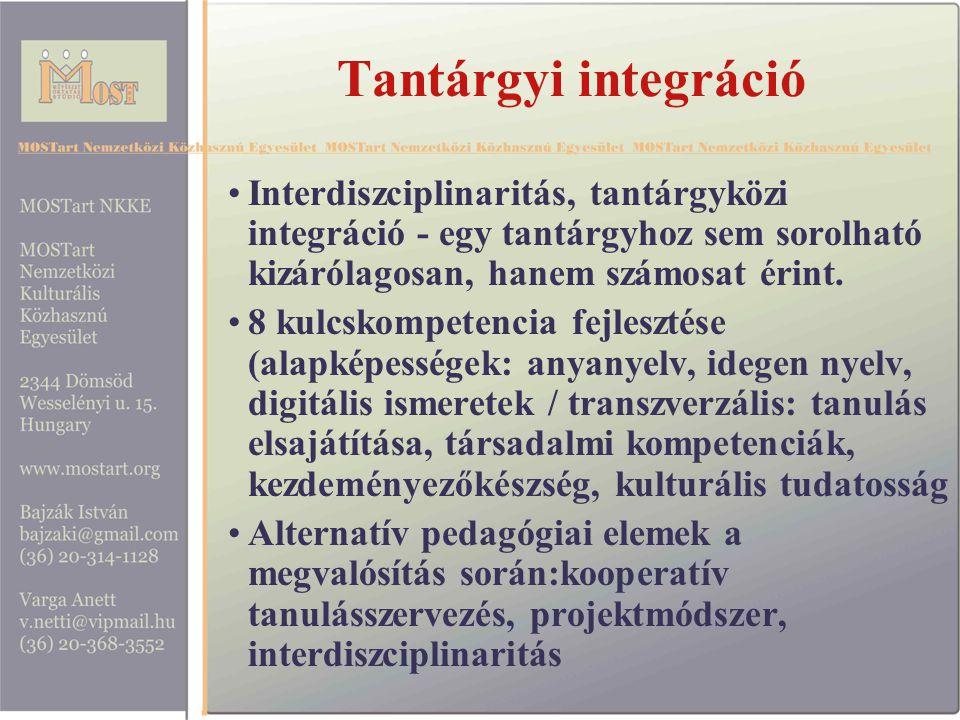 Tantárgyi integráció Interdiszciplinaritás, tantárgyközi integráció - egy tantárgyhoz sem sorolható kizárólagosan, hanem számosat érint.