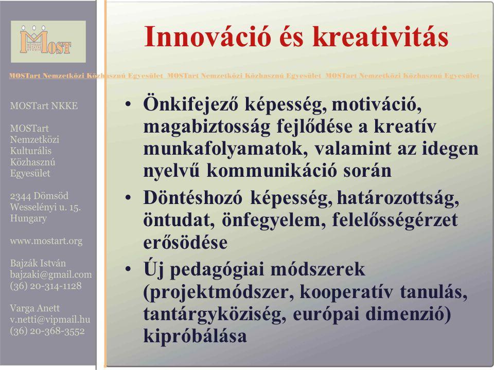 Innováció és kreativitás Önkifejező képesség, motiváció, magabiztosság fejlődése a kreatív munkafolyamatok, valamint az idegen nyelvű kommunikáció során Döntéshozó képesség, határozottság, öntudat, önfegyelem, felelősségérzet erősödése Új pedagógiai módszerek (projektmódszer, kooperatív tanulás, tantárgyköziség, európai dimenzió) kipróbálása
