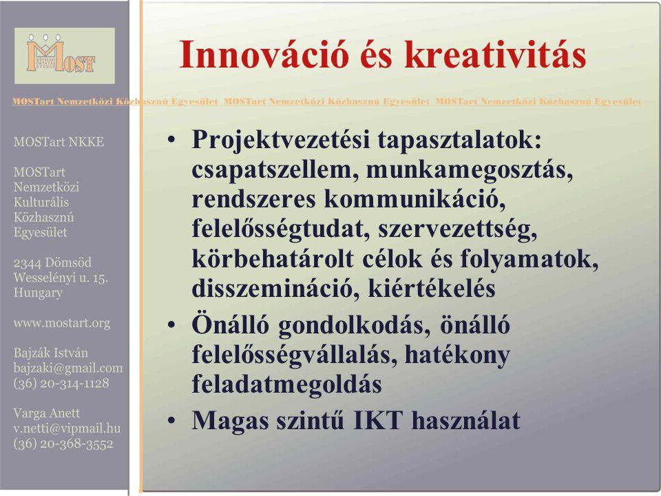 Innováció és kreativitás Projektvezetési tapasztalatok: csapatszellem, munkamegosztás, rendszeres kommunikáció, felelősségtudat, szervezettség, körbehatárolt célok és folyamatok, disszemináció, kiértékelés Önálló gondolkodás, önálló felelősségvállalás, hatékony feladatmegoldás Magas szintű IKT használat