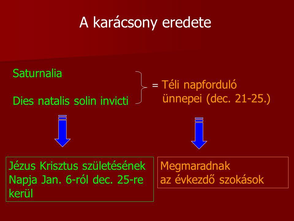 A karácsony eredete Saturnalia Dies natalis solin invicti = Téli napforduló ünnepei (dec.