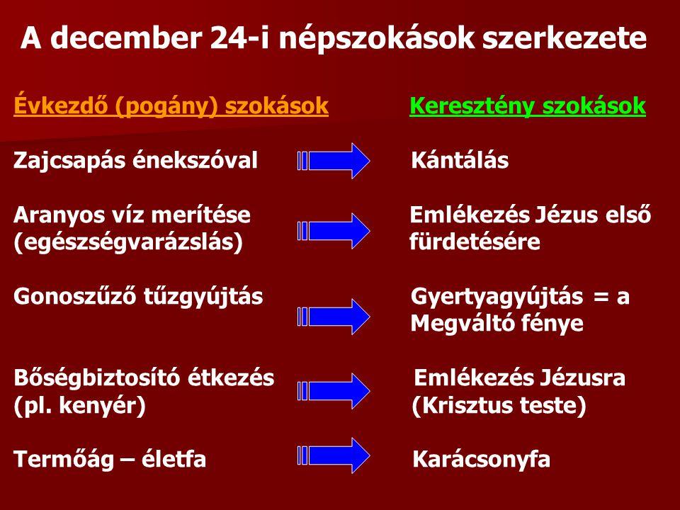 A december 24-i népszokások szerkezete Évkezdő (pogány) szokások Keresztény szokások Zajcsapás énekszóval Kántálás Aranyos víz merítése Emlékezés Jézus első (egészségvarázslás) fürdetésére Gonoszűző tűzgyújtás Gyertyagyújtás = a Megváltó fénye Bőségbiztosító étkezés Emlékezés Jézusra (pl.